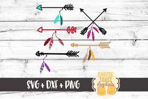 Arrows with Feathers - SVG, PNG, DXF