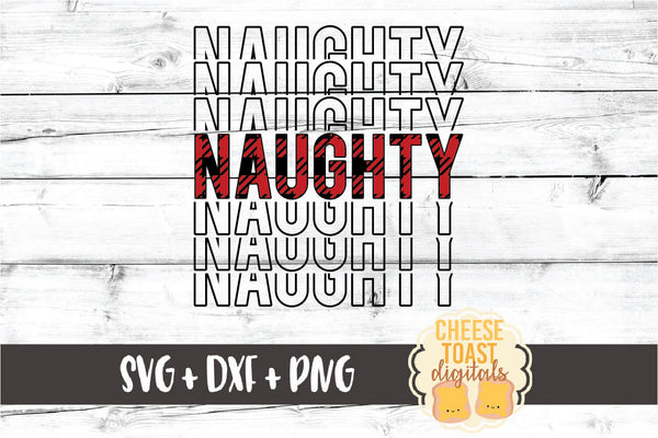 Naughty - Buffalo Plaid Christmas Mirror Word
