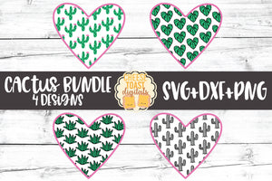 Cactus Pattern Heart Bundle