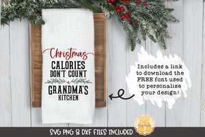 Christmas Calories Don't Count | Christmas Tea Towel