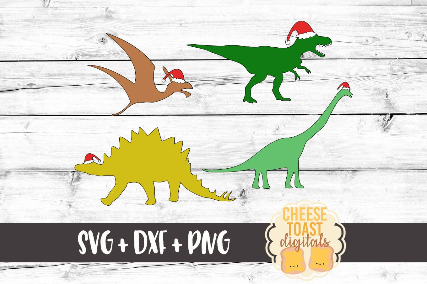 Christmas Dinosaurs - SVG, PNG, DXF