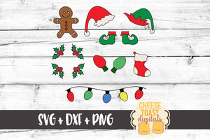 Christmas Doodles: Gingerbread Man, Santa Hat, Elf Hat, Elf Shoes, Stocking, Christmas Lights, Holly - SVG, PNG, DXF