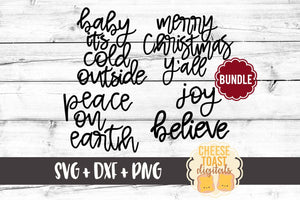 Hand-Lettered Christmas Bundle - 5 Designs - SVG, PNG, DXF