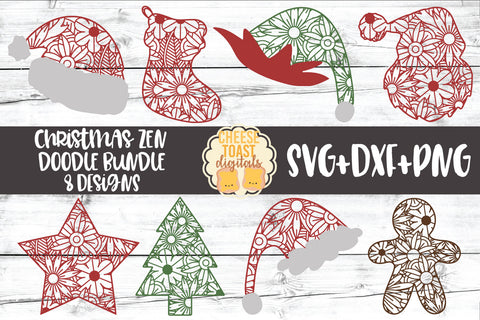 Christmas Zen Doodle Art Bundle - 8 Designs
