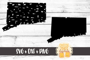 Connecticut - Grunge and Solid - SVG, PNG, DXF