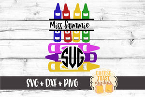 Crayon Monogram Set - SVG, PNG, DXF