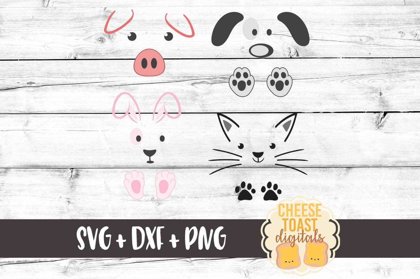 Cute Animals Set - Dog, Cat, Pig, Bunny