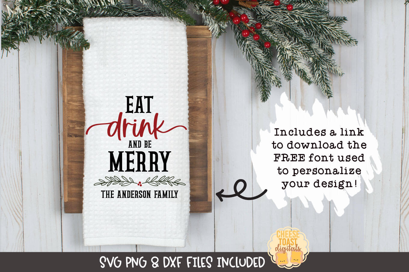 Eat Drink and Be Merry | Christmas Tea Towel