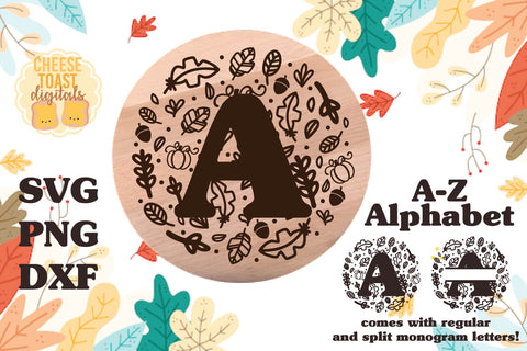 Fall Split Monogram Alphabet A-Z | Wood Rounds