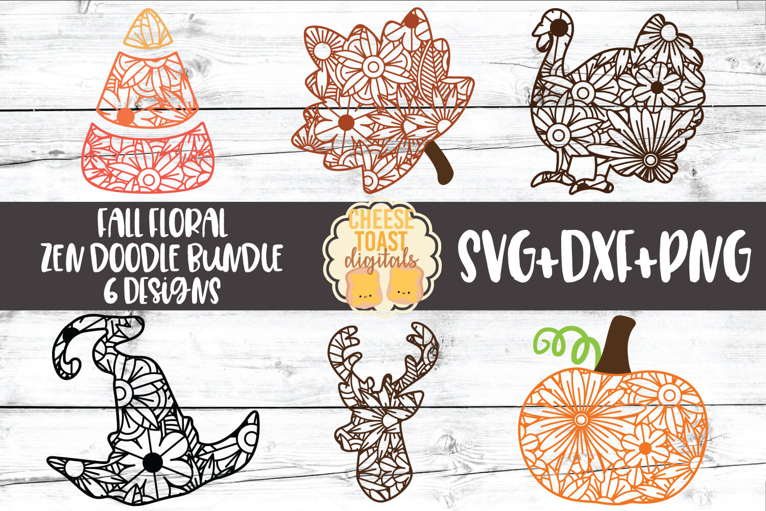 Fall Floral Zen Doodle Art Bundle - 6 Designs
