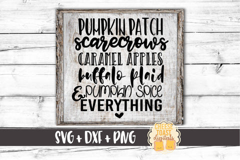 Fall List: Pumpkin Patch, Scarecrows, Caramel Apples, Buffalo Plaid & Pumpkin Spice Everything - SVG, PNG, DXF