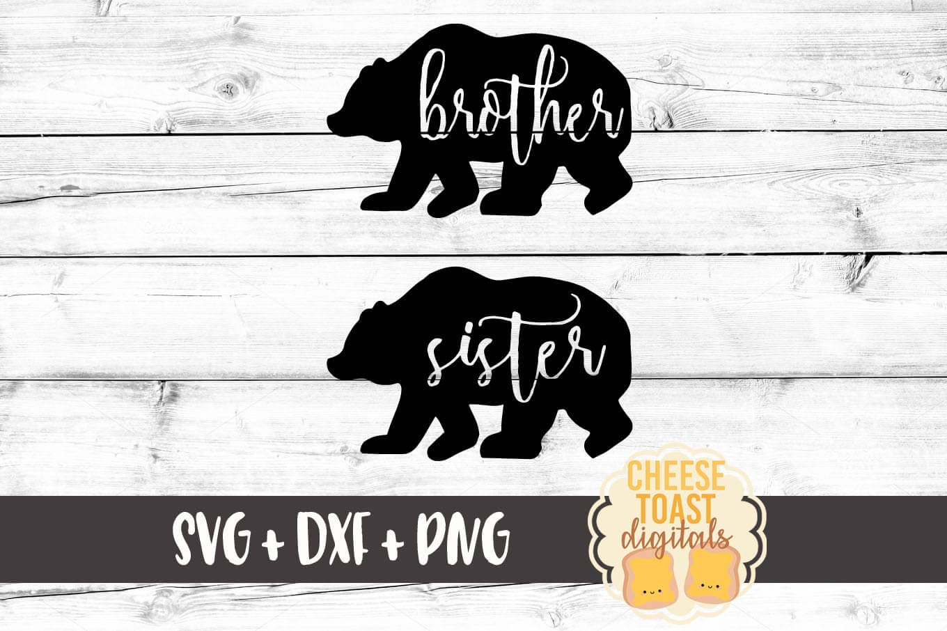 Family Bears - Brother and Sister Bear - SVG, PNG, DXF