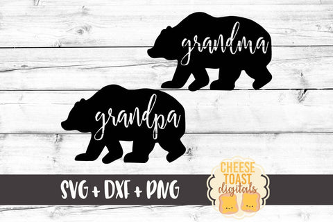 Family Bears - Grandma and Grandpa Bear - SVG, PNG, DXF