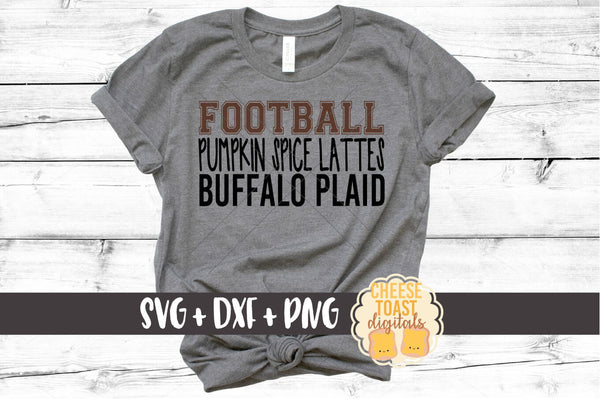 Football Pumpkin Spice Lattes Buffalo Plaid - SVG, PNG, DXF