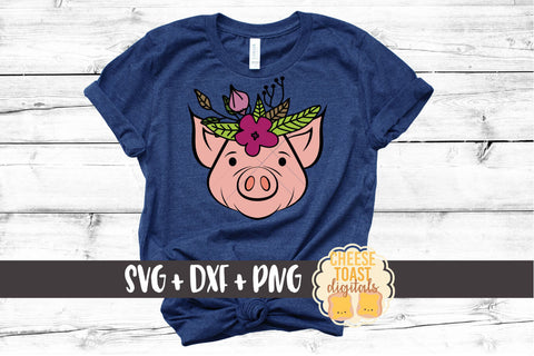 Pig with Floral Crown - SVG, PNG, DXF