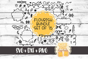 Flourish and Elements Bundle - Set of 75 - SVG, PNG, DXF