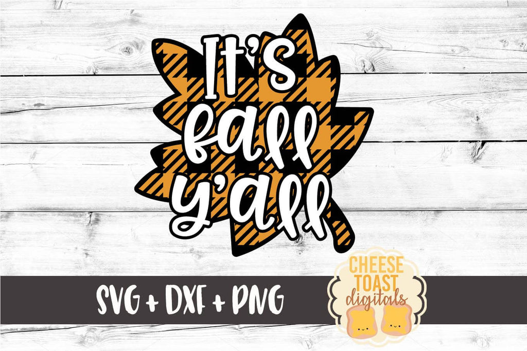 It S Fall Y All Buffalo Plaid Leaf Svg Free And Premium Svg Files Cheese Toast Digitals