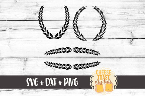 Laurels and Line Elements - SVG, PNG, DXF
