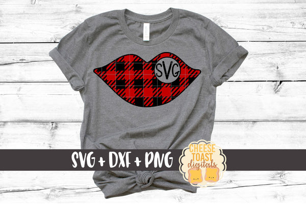 Lips Monogram - Buffalo Plaid