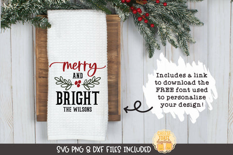 Merry and Bright | Christmas Tea Towel