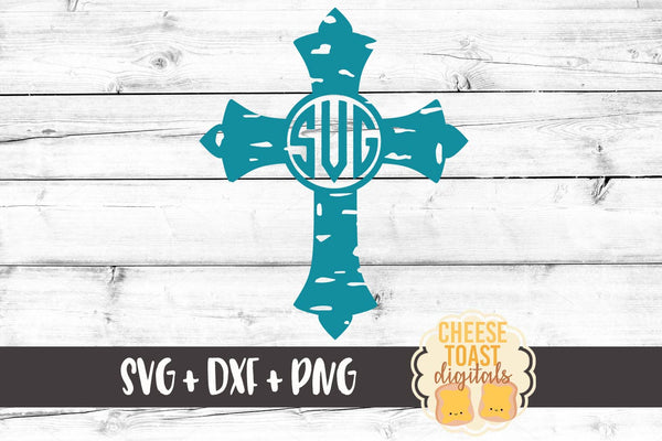 Grunge Monogram Cross - SVG, PNG, DXF