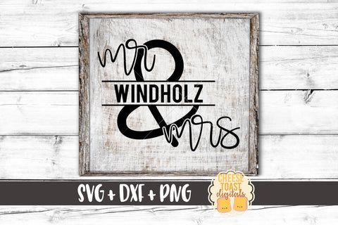 Mr and Mrs Split Monogram Frame - SVG, PNG, DXF