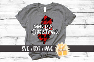 New Jersey - Buffalo Plaid Merry Christmas