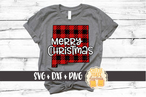 New Mexico - Buffalo Plaid Merry Christmas