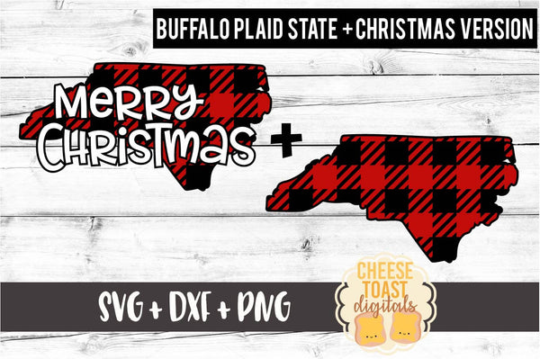 North Carolina - Buffalo Plaid Merry Christmas