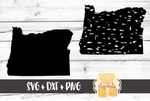Oregon - Grunge and Solid - SVG, PNG, DXF