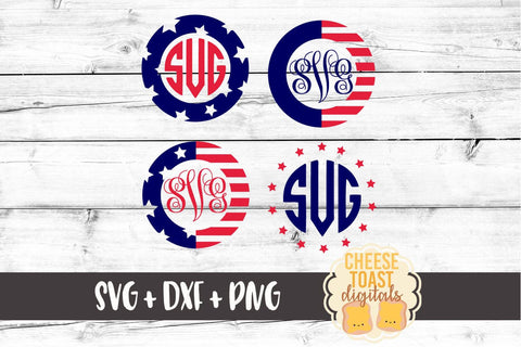 Fourth of July - Patriotic Monogram Frames - SVG, PNG, DXF
