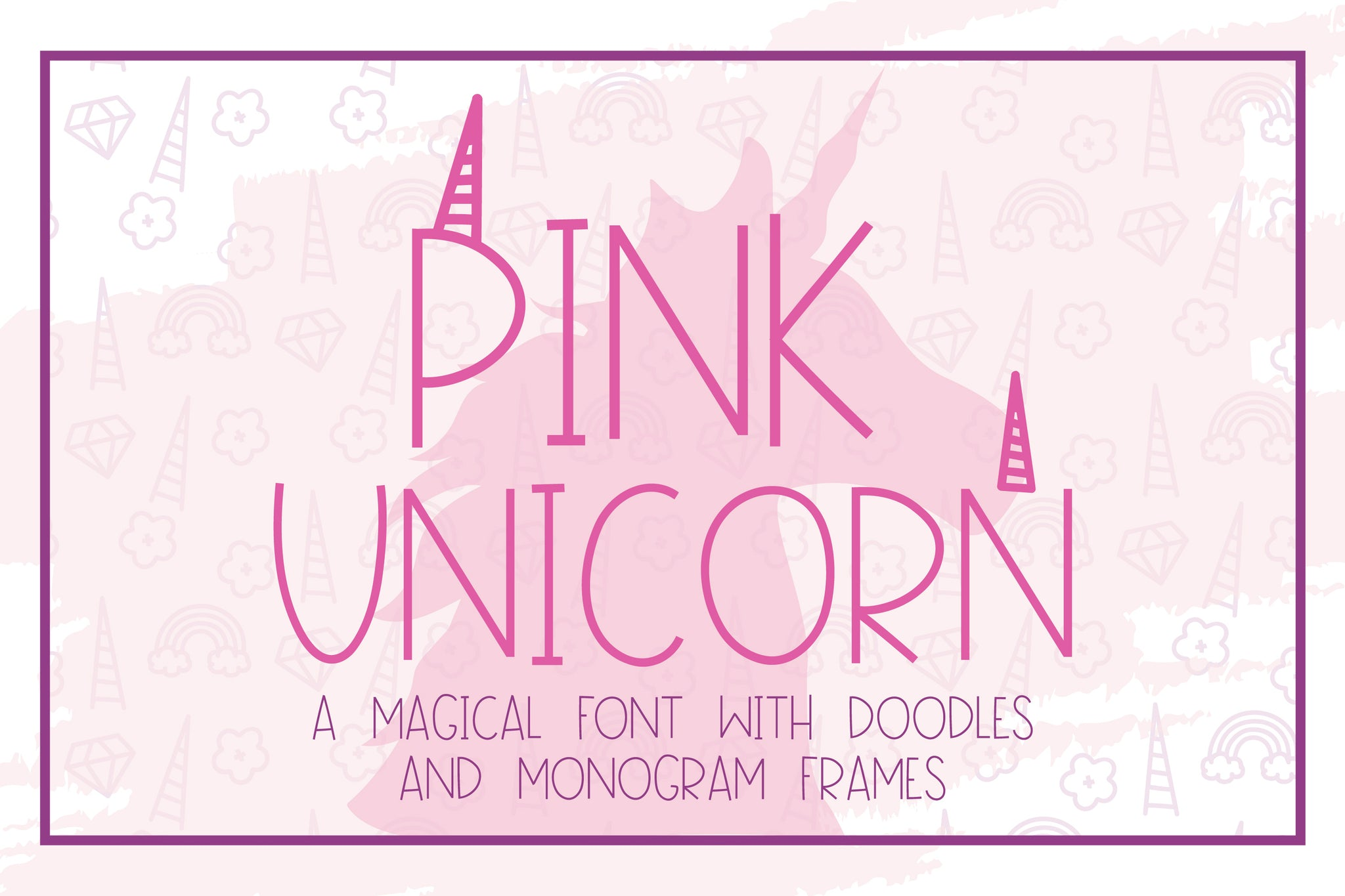 Pink Unicorn - A Magical Monogram Font
