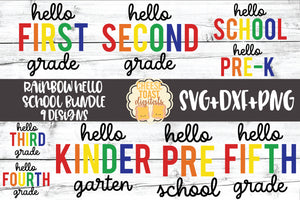 Rainbow Hello School Bundle - 9 Designs