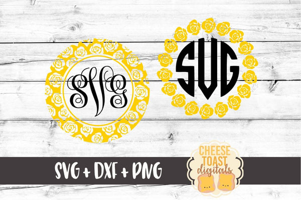 Rose Monogram Frame - Set of 2 - SVG, PNG, DXF