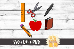 School Supplies Set - SVG, PNG, DXF