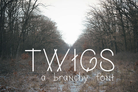Twigs: A Branchy Font - SVG, PNG, DXF