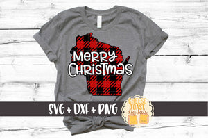 Wisconsin - Buffalo Plaid Merry Christmas
