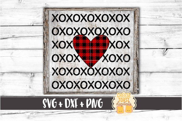 XOXO Buffalo Plaid Heart