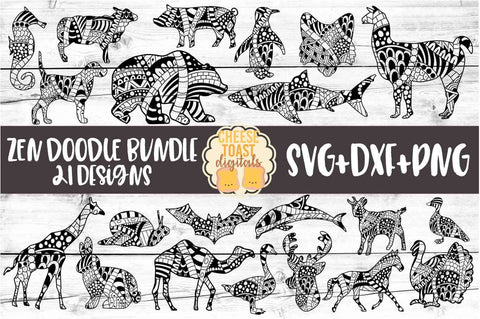 Animal Zen Doodle Art Bundle - 21 Designs