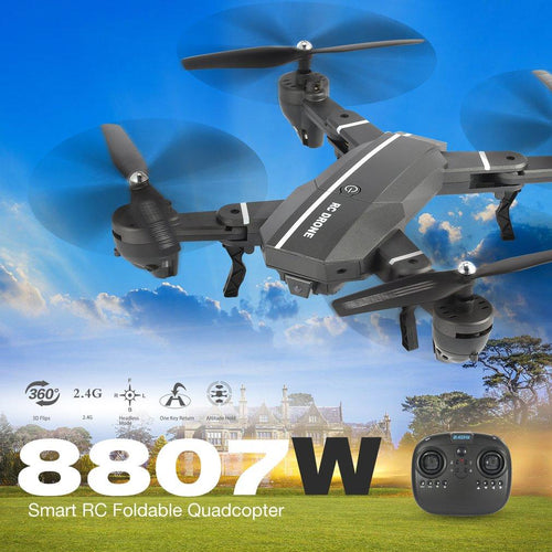 8807W 2.4G FPV Foldable RC Drone Smart Mini Quadcopter 4CH Altitude Hold Headless Mode 3D Flip Led Light RTF RC Helicopter Toys