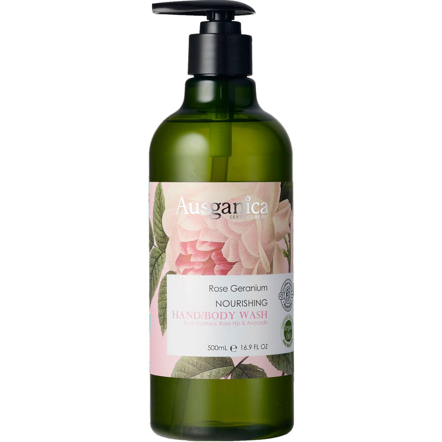 Ausganica Rose Geranium Nourishing Hand and Body Wash 500ml