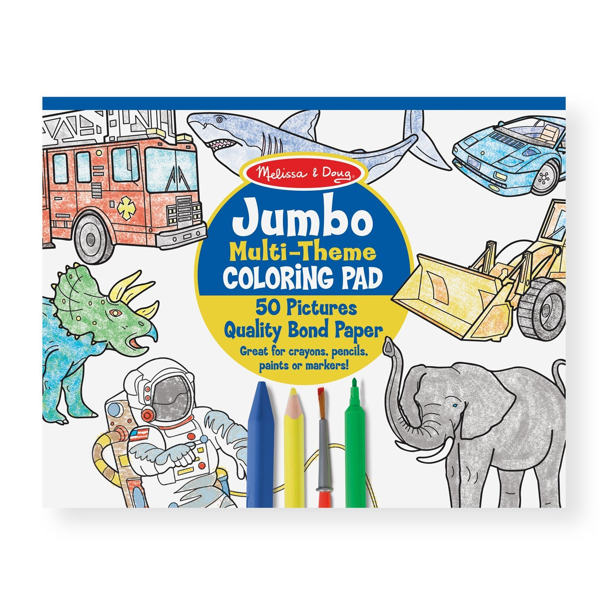 Jumbo Coloring Pad - Space, Sharks, Sports