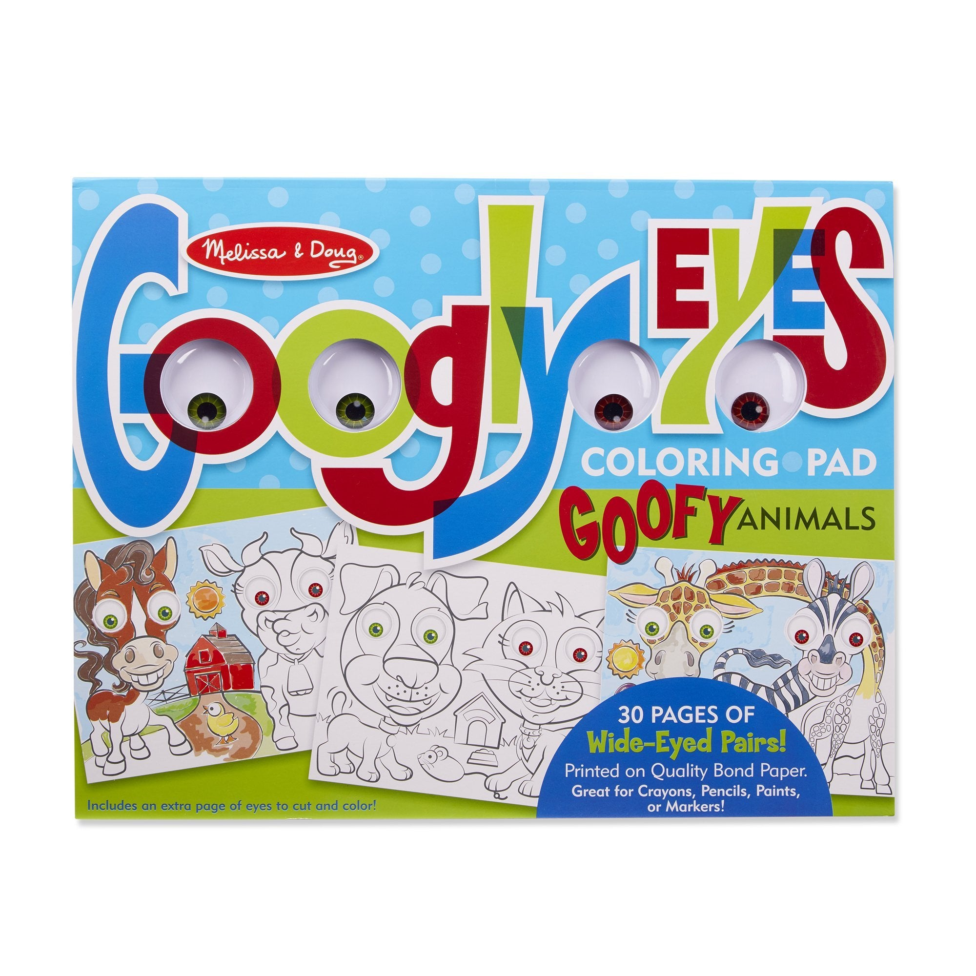 Wacky Animals - Googly Eyes Coloring Pad