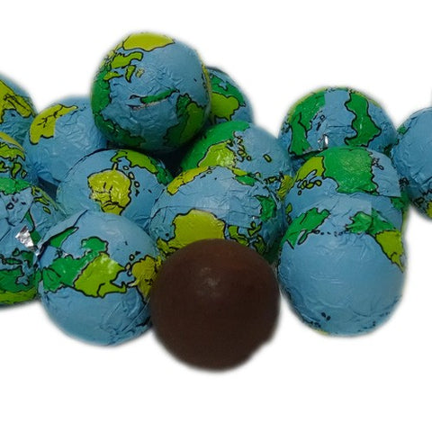 Foil Wrapped Chocolate Earth Globe Balls - 3lbs