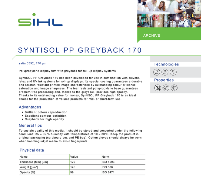 SIHL - 3392 SYNTISOL - PP Greyback 170