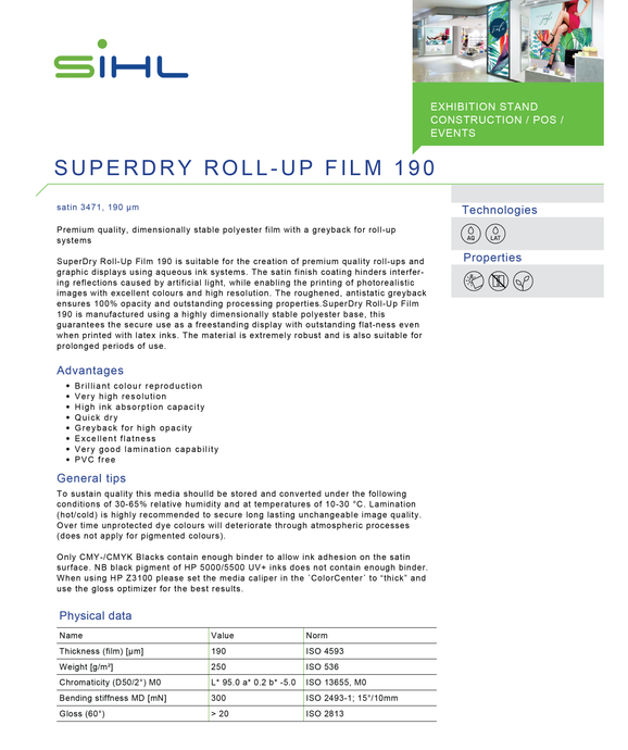 SIHL -  3471 SUPERDRY - Satin Roll Up Film