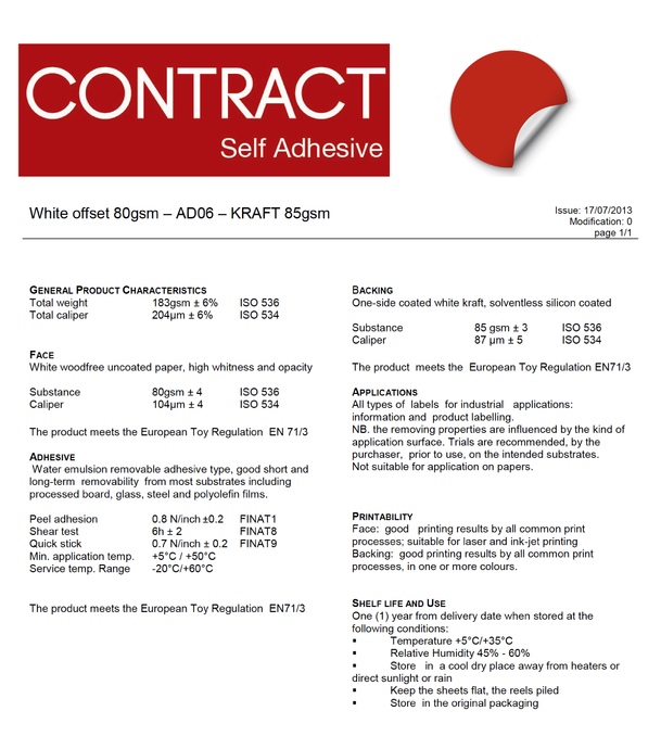 Contract - White offset 80gsm – AD06 – KRAFT 85gsm