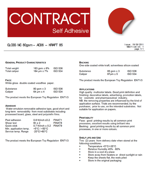Contract -GLOSS MC 80gsm – AD06 – KRAFT 85