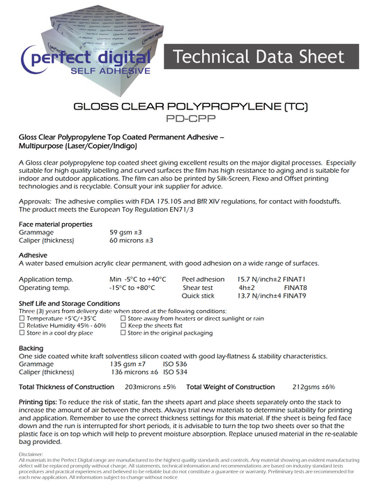 Perfect Digital - GLOSS CLEAR POLYPROPYLENE (TC) (PD-CPP)