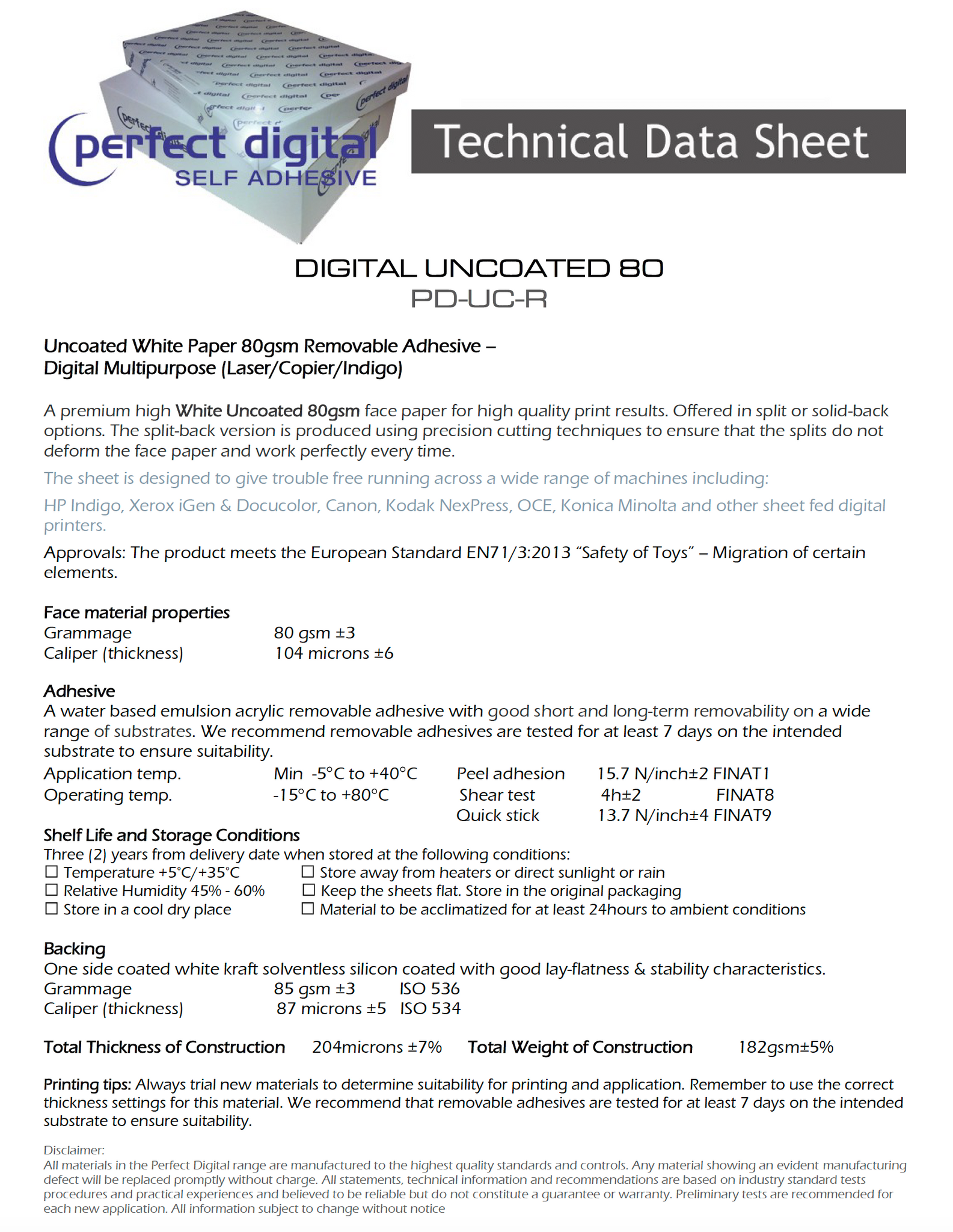 DIGITAL UNCOATED 80 PD-UC-R